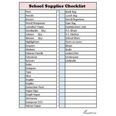 School Supplies Checklist ❤ liked on Polyvore