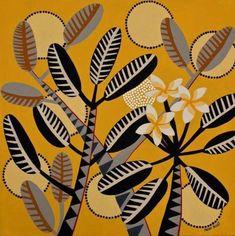 Helen Ansell Contemporary Decorative Art, Flat Color, Colour, Tropical Pattern, French Girls, Australian Art, Naive Art, Local Artists, Flower Art