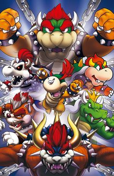 2014 age difference baby bowser bowser bracelet chains claws clenched hands collar crown dated dry bowser eyebrows giga bowser glowing glowing eyes gradient hair green skin highres horns jewelry king koopa koopa looking at viewer male focus mario (ser Super Mario World, Super Mario Bros, Super Smash Bros, King Koopa, Paper Mario, Mario And Luigi, Mario Party, Mario Brothers, Video Game Art