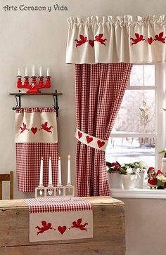 Red gingham towels hanging kitchen towel red kitchen towel hanging hand towel country kitchen decorative towel kitchen decor by joybabybear on etsy – Artofit 🌟Tante S! Red Kitchen, Kitchen Colors, Kitchen Decor, Country Kitchen, Curtain Patterns, Curtain Designs, Curtain Ideas, Kitchen Curtains, Drapes Curtains