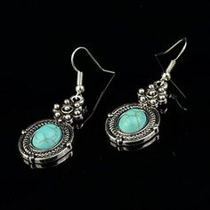 StarrY Silver Plated Flower Turquoise Drop Earrings|Amazon.com