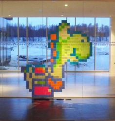 post-it art yoshi  -  want to try this, but it will never work.