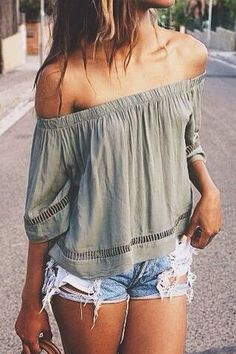 Olive off the shoulder top.