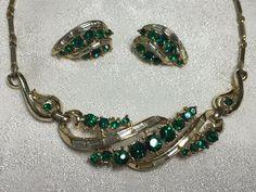 Vtg Coro Emerald Baguette Rhinestone Goldtone Des Pat Pend Necklace Earring Set #Coro