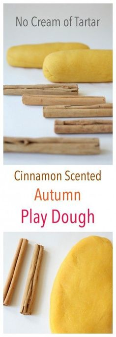 The lovely Cinnamon Scented play dough is easily made and requires no cream of tartar. Perfect Kids fall sensory activity.