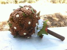 Rustic wedding bouquet pine cone forest fall winter by MomoRadRose, $85.00