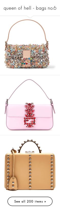 """queen of hell - bags no.6"" by ms-perry on Polyvore featuring bags, handbags, shoulder bags, fendi, purses, pink, purse shoulder bag, white purse, man shoulder bag и shoulder hand bags"