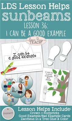 """Primary 1 Sunbeams Lesson 36: """"I Can Be a Good Example"""" Lesson helps including printables, coloring pages, activity ideas and more! www.LovePrayTeach.com"""