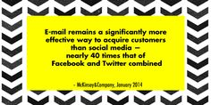 E-mail remains a significantly more effective way to acquire customers than social media —nearly 40 times that of Facebook and Twitter combi...