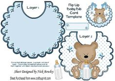 Cute little bear on blue polka dot bib with his bottle on Craftsuprint - Add To Basket!
