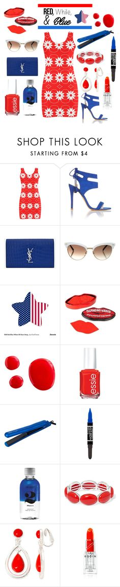 """""""Red, White and Blue Fashion"""" by k-ravasio ❤ liked on Polyvore featuring Miss Selfridge, Yves Saint Laurent, Gucci, Essie, Hair Rage, Rimmel, Lord & Berry, Liz Claiborne and Rodin"""