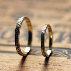 14k gold wedding ring set - braided wheat bands - recycled gold ETSY $860 :: boho wedding