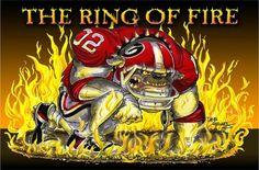 Ring of fire Georgia Bulldogs Football, Carolina Panthers Football, Football Season, Football Team, College Football, Savannah Georgia, Savannah Chat, Bulldog Wallpaper, Georgia Girls