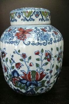 Tichelaar Makkum prachtige gedecoreerde gemberpot / tabakspot nr 1114 | Makkum Tichelaar | Reyshof antiek en curiosa