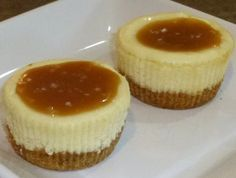 Easy Dessert Recipe for Mini Cheesecakes with Salted Caramel Sauce