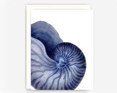 Set of 4 Indigo Sea Life Note Cards, Nautical Greeting Cards, Blank Note Cards, A2 Greeting Cards