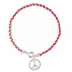 Peace Sign Kabbalah Red String Bracelet. Have a peace of Mind with this Peace Sign Kabbalah Red String Bracelet in Sterling Silver made according to Kabbalah to ward off the Evil Eye. This stylish bracelet has the Kabbalah Red String Bendel interwoven and a Sterling Silver Peace Sign Charm.