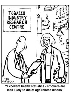 """Smoking health cartoon Cigarette cartoon Caption: """"If you smoke you're less likely to die of an age-related illness"""". A cartoon showing a research laboratory doing medical researc… Math Jokes, Science Memes, Math Humor, Social Science, Economics Humor, Statistics Quotes, Statistics Math, Ap Psychology, New Yorker Cartoons"""
