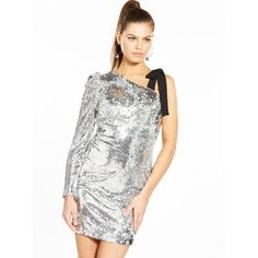 V By Very Unique Silver One Sleeve Dress (£60) ❤ liked on Polyvore featuring dresses, white dress, white mini dress, sequin cocktail dresses, white sequin cocktail dress and long sleeve mini dress