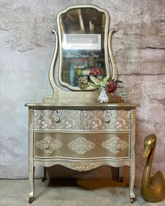 Painted Furniture For Sale, Metallic Painted Furniture, Decoupage Furniture, Metallic Dresser, Diy Furniture, Metallic Paint Colors, Decoupage Tissue Paper, French Country Style, Stencil Designs