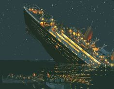 April 15, 1912, less than 3 hours after hitting an iceberg in the North Atlantic off Newfoundland, the RMS Titanic sinks killing over 1500.