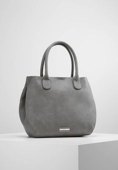 "PARFOIS. Handbag - grey. Pattern:plain. Compartments:mobile phone pocket. length:12.0 "" (Size One Size). width:6.5 "" (Size One Size). carrying handle:7.0 "" (Size One Size). Fabric:Synthetic leather. Outer material:faux lea..."