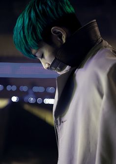 light sea green or dark turquoise, not sure, TOP (Big Bang)   seems like only Korean guys dare to use colors :) well, I <3 it