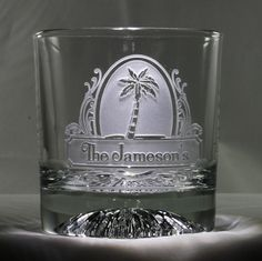 11 oz. Engraved Personalized Palm Tree Whiskey Glass