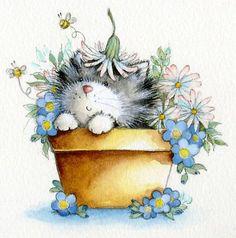cat in flower pot 3/3