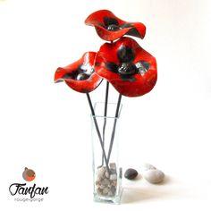 Collection de 3 gros coquelicots Rouges en Céramique Raku : Accessoires de maison par fanfan-rouge-gorge