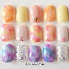 幻想的♡春の『タイダイネイル』はふんわり柔らかメルヘンチック* | marry[マリー] Sculpted Gel Nails, Asian Nails, Japanese Nail Art, Cute Nail Art, Bridal Nails, Nail Shop, Purple Nails, Creative Nails, Cool Nail Designs