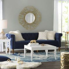 Get inspired by Glam Living Room Design photo by Wayfair. Wayfair lets you find the designer products in the photo and get ideas from thousands of other Glam Living Room Design photos. Blue And Gold Living Room, Navy Living Rooms, Glam Living Room, Living Room Sofa, Living Room Decor, Lounge Design, Living Room Color Schemes, Living Room Designs, Colour Schemes