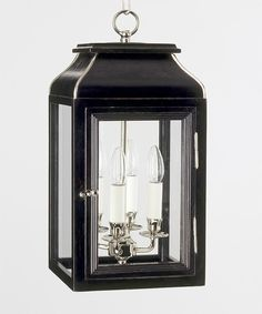 Hanging Wooden Mews Lantern, HL Black Lacquer and Nickel :: Charles Edwards Porch Lighting, Exterior Lighting, Kitchen Lighting, Lighting Ideas, May Designs, London England, Three Dimensional, Candle Sconces, Light Up