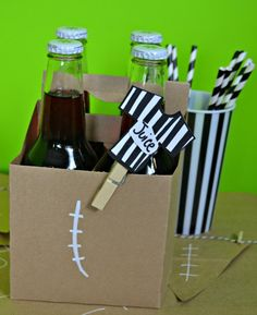 Serve carbonated juice with paper straws for a no fuss drink at your football party.
