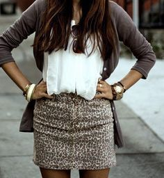 cheetah skirt with white top