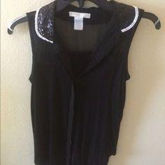 Tops - Black sleeveless with beaded collar