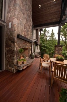hmmm... could I orchestrate a hearth, on an outside wall, so as to have a fireplace in the living room AND on the porch?... with a wood rack, offset...