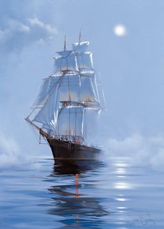 """Photo from album """"James Brereton. Парусники"""" on Yandex. Ship Paintings, Landscape Paintings, Old Sailing Ships, Nautical Art, Ship Art, Tall Ships, Lighthouse, Ocean, Pictures"""