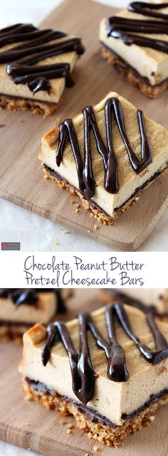 Chocolate Peanut Butter Pretzel Cheesecake Bars Ingredients: FOR THE PRETZEL CRUST: 4 cups pretzels, crushed into fine crumbs (about 1 cups crumbs) 8 tablespoons unsalted butter, melted 2 table. Oreo Dessert, Dessert Bars, Mini Desserts, Just Desserts, Delicious Desserts, Plated Desserts, Cheesecake Bars, Cheesecake Recipes, Dessert Recipes