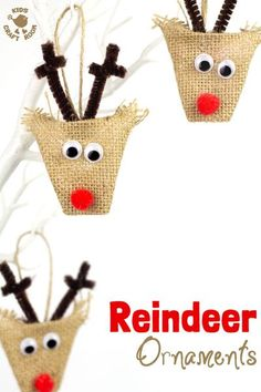 ADORABLE BURLAP REINDEER ORNAMENTS - a simple no-sew Christmas craft for kids. A lovely homemade reindeer decoration for the Christmas tree. #christmas #ornaments #reindeer #kidscrafts Reindeer Craft, Reindeer Decorations, Reindeer Ornaments, Diy Christmas Ornaments, Handmade Christmas, Christmas Tree, Christmas Ideas, Christmas Decorations, Cowboy Christmas