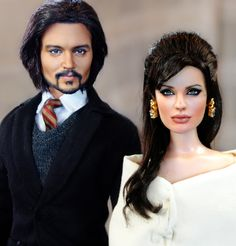 Johnny Depp and Angelina Jolie dolls, based on the movie 'The Tourist', by Noel…