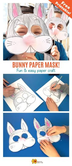 Bunny Mask DIY What& up doc? It& a cute bunny mask, that& what! Animal Masks For Kids, Mask For Kids, Bunny Crafts, Easter Crafts, Easter Activities, Preschool Activities, Paper Crafts For Kids, Diy For Kids, Crayon Crafts