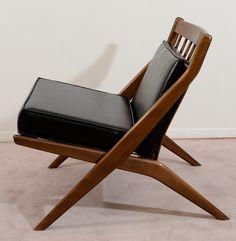 Folke Ohlsson; Oak and Leather Scissor Chair for Dux,  1958.