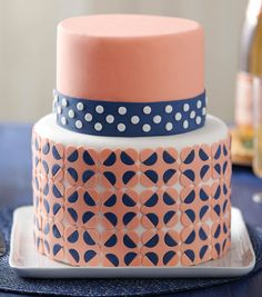 Pretty Patterned Fondant Cake How-To Sheet // Baby Shower Cake