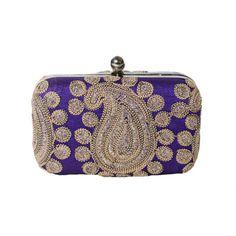 Purple-Blue Paisley Box Clutch