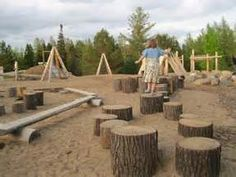 Students have the opportunity to construct things, learn patterns, and learn balance by playing on the natural layout of the playground.