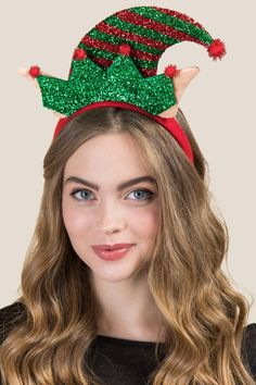 The Erna Elf Ear Headband features large pointed ears and a glitter faux elf hat look. Christmas Headpiece, Christmas Hair Bows, Mickey Christmas, Christmas Card Crafts, Diy Headband, Ear Headbands, Hat Day, Elf Ears, Crazy Hats