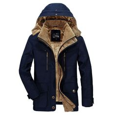 AFS JEEP Mens Plus Velvet Thick Winter Coat Hooded Outdoor Solid Color Jacket