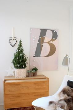 Minimalist Christmas Décor. Something more inclusive than the oversized B would be less distracting
