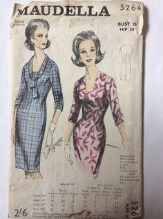 Maudella 5264 Vintage 1960s Tie Neck Wiggle Shift Dress Pattern Bust 36 UNUSED